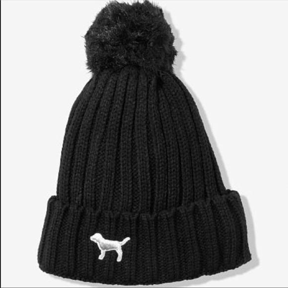 44eee73471387 Pink Victoria s Secret Sherpa hat beanie black new